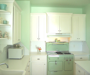 kitchen, vintage, and green image