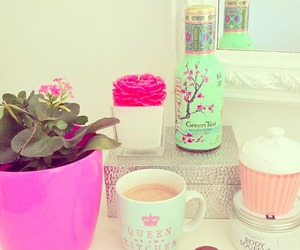 pink, flowers, and tea image