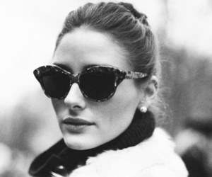 olivia palermo, black and white, and sunglasses image