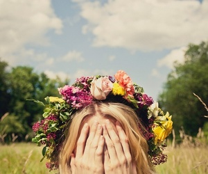 blonde, flower, and girl image