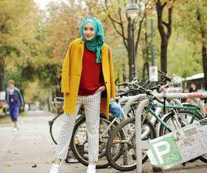 bicycle, fashion, and trees image