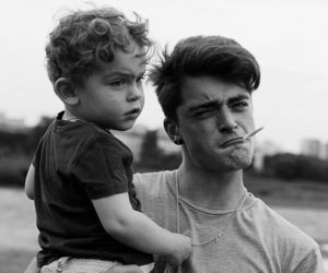 boy, baby, and black and white image