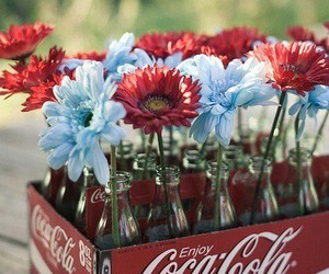 coca cola, red, and flowers image