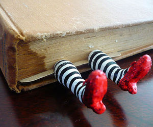 book, bookmark, and shoes image