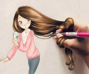 brown hair, girly, and pink image