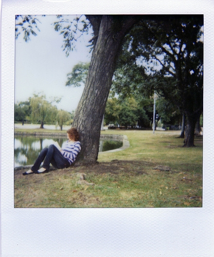 book, girl, and polaroid image