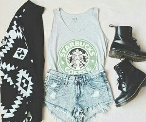 starbucks, fashion, and outfit image