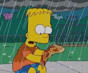 pizza, simpsons, and rain image