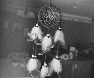 beauty, black and white, and dreamcatcher image