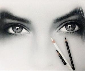 eyes, couple, and drawing image
