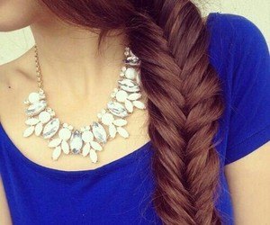 hair, necklace, and style image