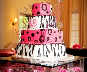 cake, pink, and wedding cake image
