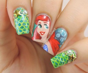 disney, nail art, and the little mermaid image
