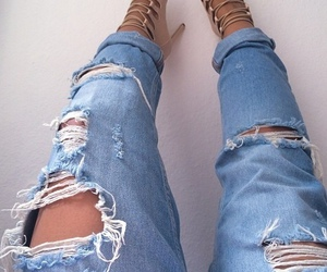 heels, jeans, and ripped jeans image