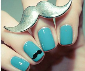 blue, mustache, and nail art image
