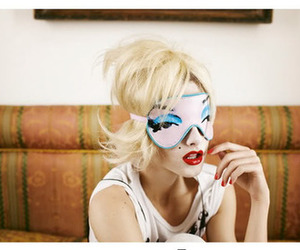 mask, girl, and blonde image