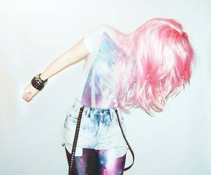 hair, pink, and galaxy image