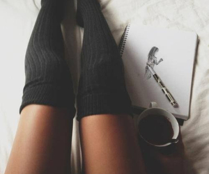 coffee, socks, and legs image