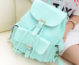 bag, backpack, and blue image