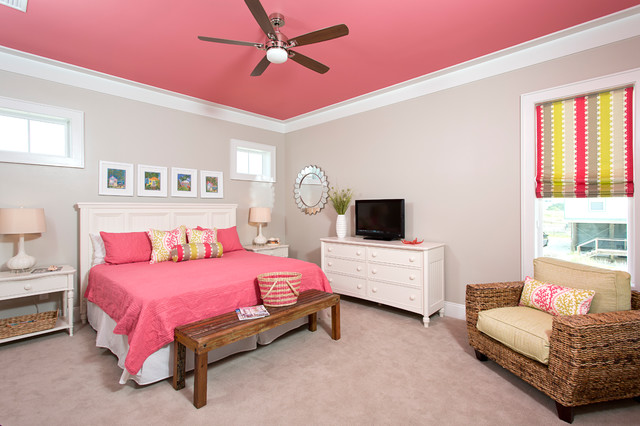 Awesome Girls Bedroom Paint Ideas In Contemporary Bedroom With Grey Colored Floor Cover And Pink Concrete Ceiling
