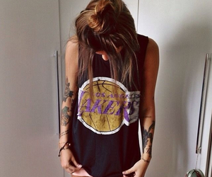 girl, tattoo, and lakers image