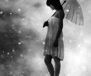 umbrella, black and white, and girl image