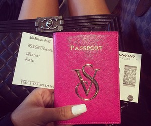 travel, pink, and passport image
