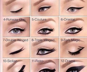 cat eye, eye liner, and eyes image