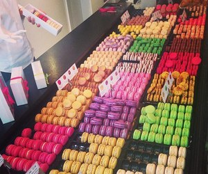 food, chocolate, and macarons image