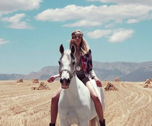 horse, girl, and model image