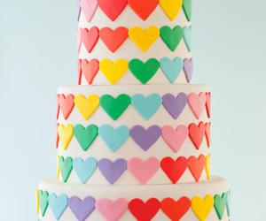 cake, heart, and rainbow image