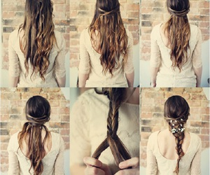 braid, flowers, and hairstyles image