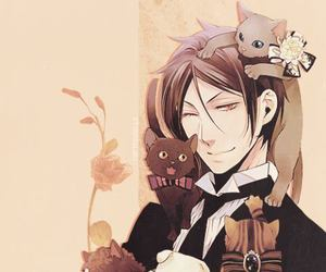 kuroshitsuji, black butler, and cat image