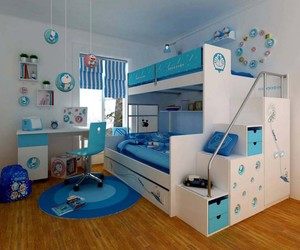 room, bunk bed, and blue image