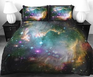 bed, galaxy, and space image
