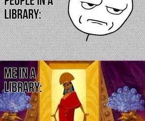 book, library, and funny image