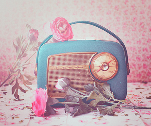 radio, flowers, and vintage image