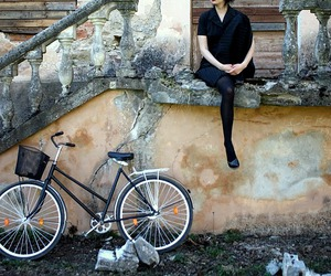 bicycle, black, and woman image