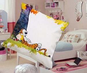 awesome, calvin and hobbes, and pillow case image
