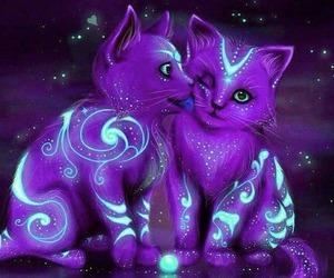 cat, fantasy, and purple image