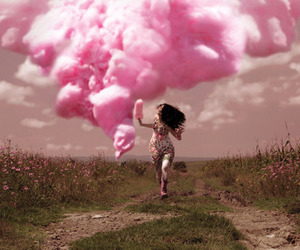 pink, cotton candy, and clouds image