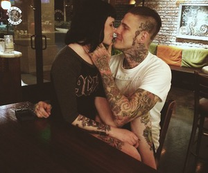 couple, ink, and tattooed boy image