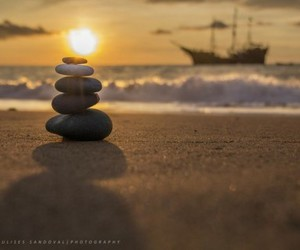 beach, stone, and boat image
