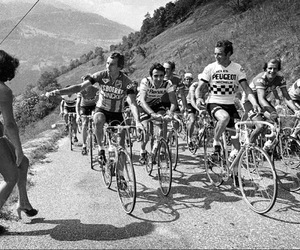 black and white, retro, and tour de france image