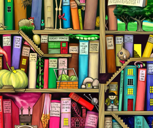 books, color, and lots image