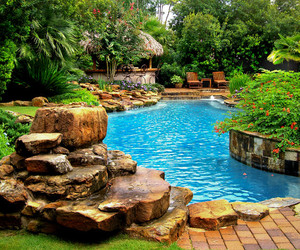 swimming pool, waterfall, and tropics image