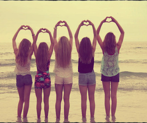 beach, girls, and hearts image