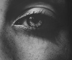 black and white, eyes, and eye image