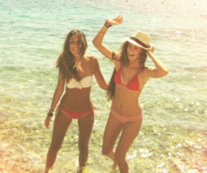 beach, girls, and hats image