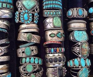 bracelet, rings, and blue image